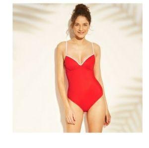 NWTShade&ShoreCabanaRed&White36DD 1pieceSwimsuit